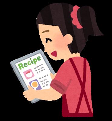 レシピを見ている女性